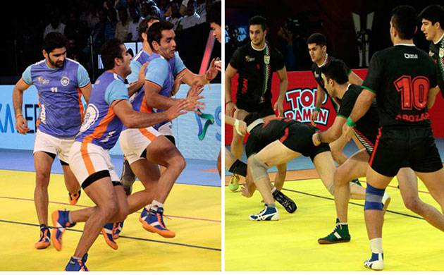 A combination photo shows Indian and Iranian Kabaddi players during the world cup tournament. Image: www.2016kabaddiworldcup.com/