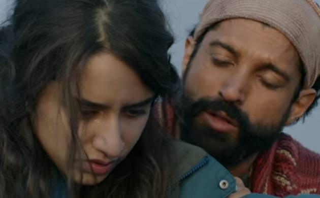 Farhan Akhtar and Shraddha Kapoor in a still from Rock On 2 (Video grab)