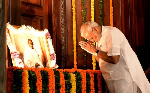 A file photo of PM Modi from Ghandhi Jayanti celebrations in Parliament this year