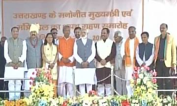 Video | Uttarakhand swearing-in ceremony: Trivendra Singh Rawat and Cabinet take oath to office in presence of PM Modi, Amit Shah