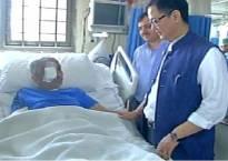 MoS Home Affairs Kiren Rijiju meets injured CRPF officer Chetan Cheeta at AIIMS