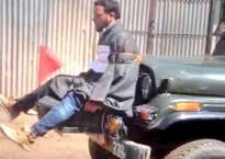 Video: Youth allegedly tied to army jeep as human shield against stone pelting; Omar Abdullah demands urgent probe