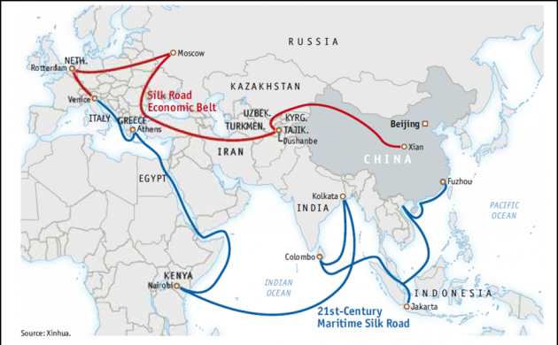 China's One Belt, One Road initiative map (File pic)