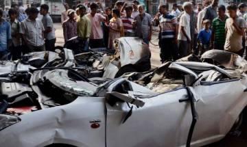 Video | Car falls down from flyover in Punjabi Bagh area of Delhi; 2 dead, 5 injured