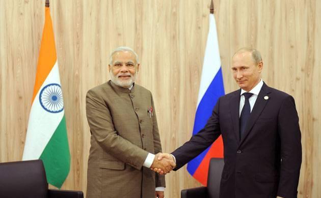 A file photo shows Prime Minister Narendra Modi with Russian President Vladimir Putin.