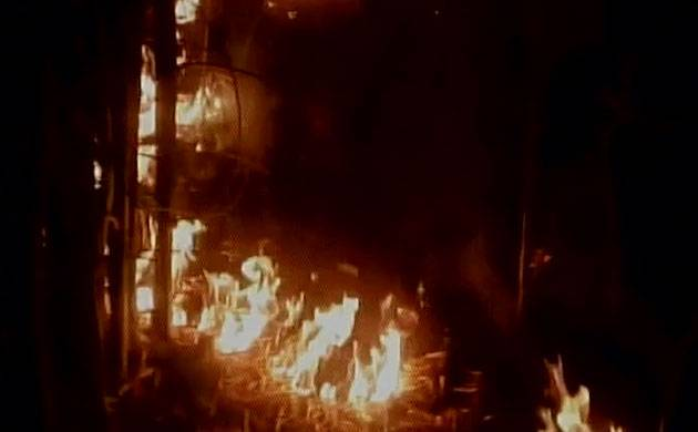 Flames engulfed the adjoining area of the venue of Bhopal Foundation Day event. (ANI/Twitter)