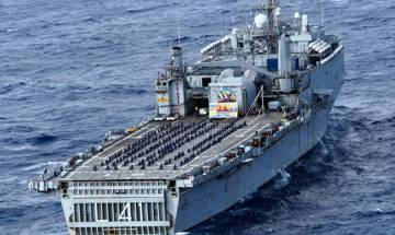 International Yoga Day: Navy personnel perform Yoga onboard INS Jalashwa, Kirch in Bay of Bengal