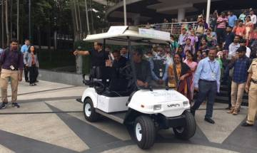 Infosys CEO Vishal Sikka makes stylish ever entry in 'driverless' cart, eyes Artificial Intelligence