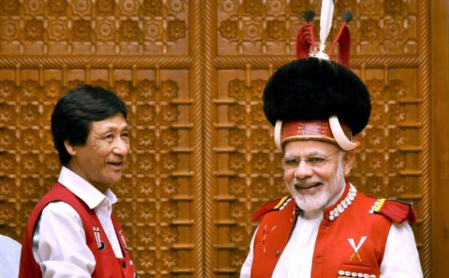 A 15 member delegation from the Nagaland GB (Gaon Burahs) Federation called on Prime Minister Narendra Modi (PTI Image)