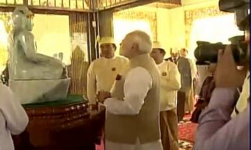 On three-day tour, Prime Minister Narendra Modi visits Shwedagon Pagoda in Myanmar