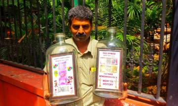 Bengaluru's bottle artist celebrates birthday of new currency and mourns death of demonetised notes