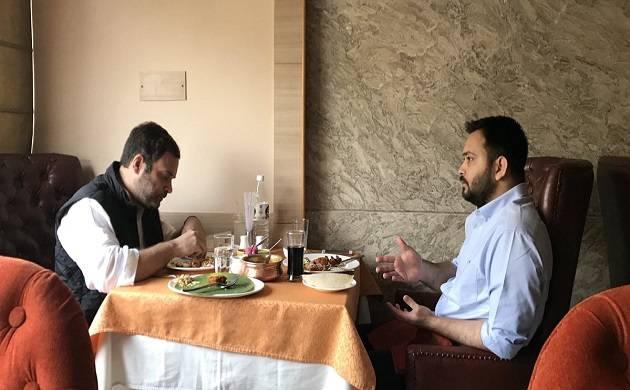 Tejashwi Yadav dine out with Rahul Gandhi (Image source: Twitter)