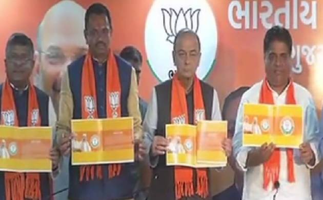 BJP releases election manifesto a day before Gujarat goes to poll. (Source: ANI)