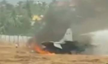 MIG-29K fighter aircraft goes off runway at Goa airport, pilot ejects safely