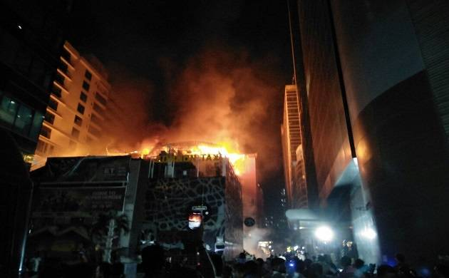 Fire broke out in a restaurant in Kamala Mills Compound, Lower Parel, south Mumbai, early morning on Dec. 29, 2017. (Photo: IANS)