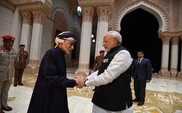 Prime Minister Narendra Modi addresses the Indian diaspora at Muscat's Sultan Qaboos Sports Complex. (ANI)