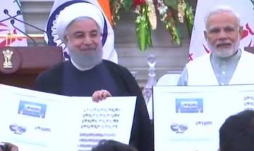 India-Iran joint statement: PM Modi, President Rouhani issue joint postal stamp