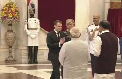 French Prez in India Highlights: Emmanuel Macron arrives at Rashtrapati Bhavan; takes part in International Solar Alliance