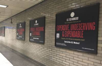 Anti H-1B posters come up in San Francisco metro stations
