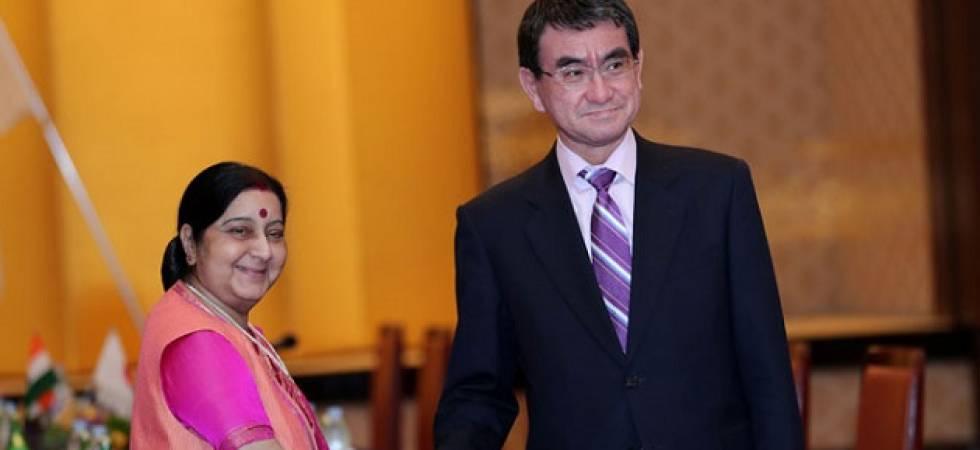 Swaraj holds bilateral talks with Japanese counterpart Taro Kono (File Photo)