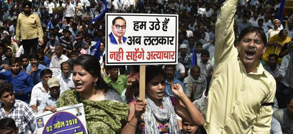 Members of Dalit community protest during Bharat Bandh against the alleged