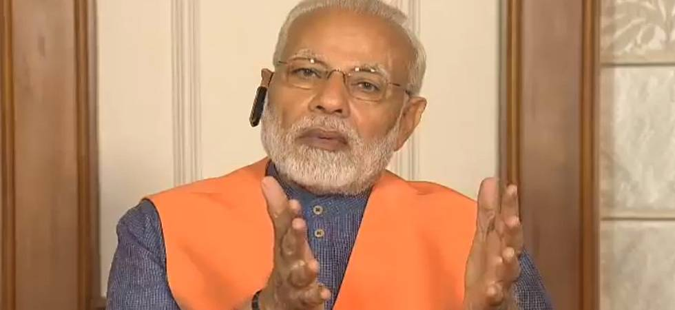 Prime Minister Narendra Modi while addressing BJP leaders through Namo app (Pic ctsy: Twitter/BJP4India)