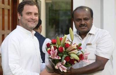 HD Kumaraswamy meets Rahul Gandhi, Sonia Gandhi in Delhi