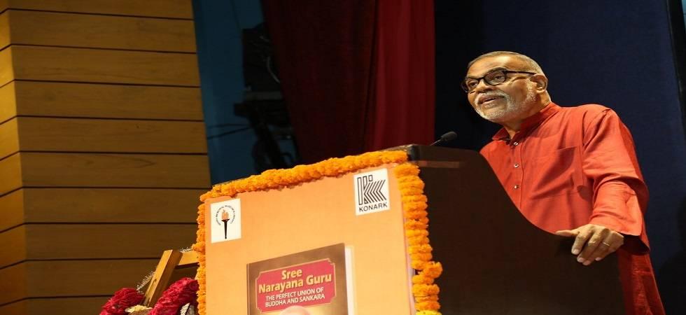 Rajya Sabha Member Narendra Jhadav speaking at the book launch as Chief Guest