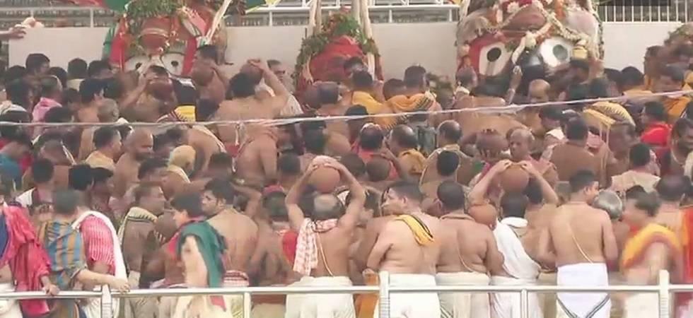 Devotees throng Shree Jagannath temple to celebrate Snana Jatra in Puri