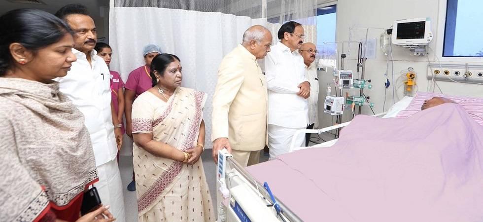 DMK chief M Karunanidhi  vital signs normalising: Kauvery Hospital (Photo: Twitter)