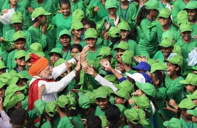 It's children's day out with PM Narendra Modi at Red Fort on Independence Day
