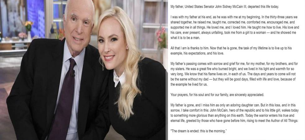 John McCain's daughter posts heart touching tribute to late father (Photo: Twitter)