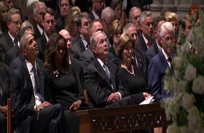 Two presidents—not Trump—pay tribute to McCain at Washington funeral