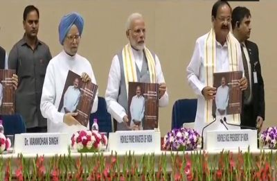 PM Narendra Modi releases Venkaiah Naidu's book 'Moving On… Moving Forward: A Year in Office'