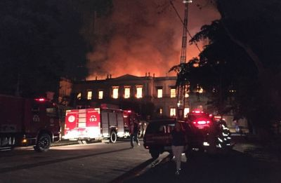 Massive fire hit Brazil's 200-year old National Museum in Rio de Janeiro