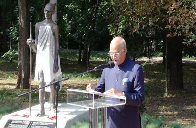 Kovind, Bulgarian president unveil Mahatma Gandhi's statue at South Park