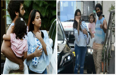 Shahid Kapoor, Mira and Misha take baby Zain home; See Pictures