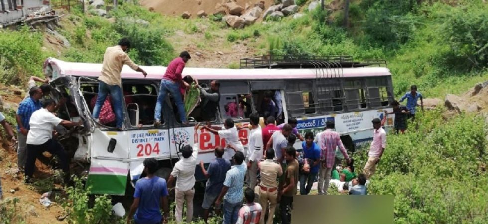 52 killed as bus plunges into valley in Telangana's Jagtial district (Photo- Twitter/ANI)
