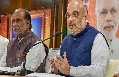 Amit Shah sounds poll bugle in Telangana; criticises KCR for ensuing early Assembly polls