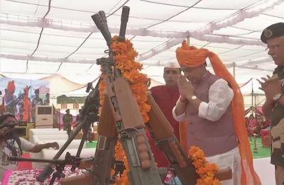 Rajnath Singh in Bikaner: Home minister performs Shastra Puja on Indo-Pak border