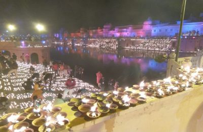 Ayodhya creates new world record; over 300,000 diyas lit on banks of Saryu river