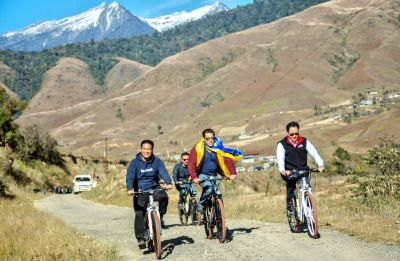 Bharat star Salman Khan goes cycling with Arunachal Pradesh CM, check out the pictures