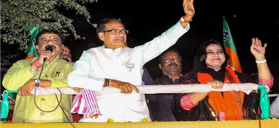 Shivraj Singh Chouhan at a roadshow in Madhya Pradesh (Photo Source: PTI)