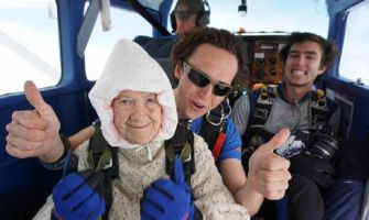 102-year-old woman jumps out of plane for Charity, sets the oldest Skydiver world record