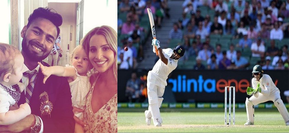 When 'baby sitter' Rishabh Pant took Paine's son in his lap (Twitter)