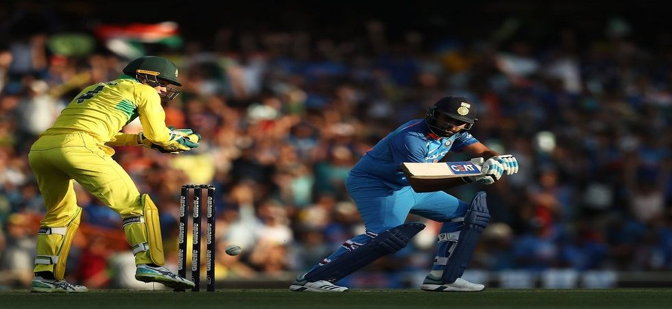 Rohit Sharma slammed his 22nd century and MS Dhoni hit his 68th fifty but India lost the Sydney game by 34 runs. (Image credit: ICC Twitter)