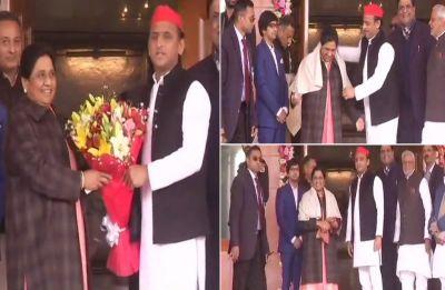 Samajwadi Party chief Akhilesh Yadav meets BSP supremo Mayawati on 63rd birthday