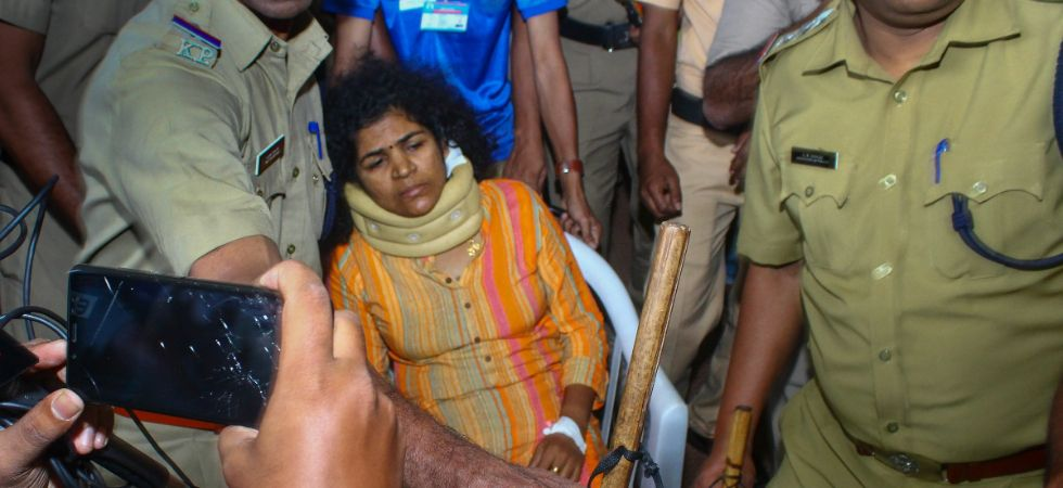 Kanaka Durga, one of the two women who recently made history after entering the Sabarimala temple in their menstrual age, being shifted to a hospital for treatment after she was allegedly beaten up by her mother-in-law, in Kozhikode, Tuesday, Jan 15, 2019