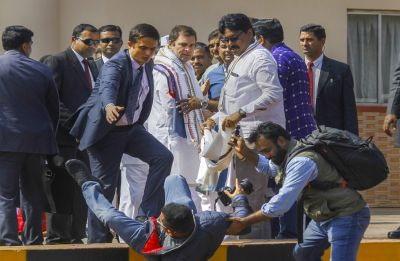 WATCH: Rahul Gandhi helps photographer who tripped and fell at Bhubaneswar airport