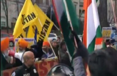 Sikh separatists protest in front of Indian Embassy in US